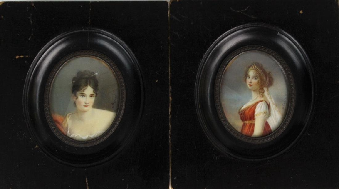 Pair French Style Court Ladies Miniature Portraits