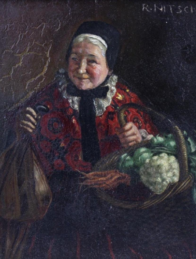 Antique RICHARD NITSCH Old Lady Portrait Painting
