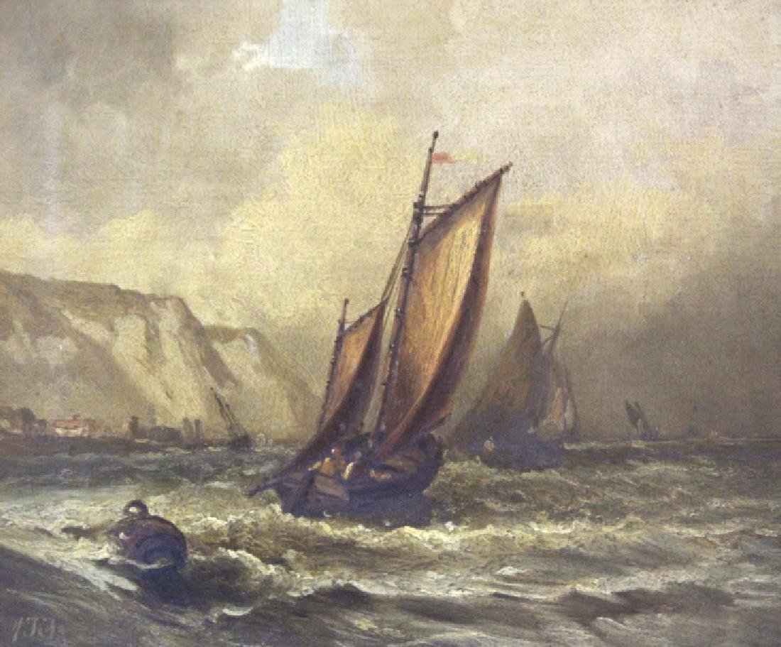 Mystery Antique Signed Seascape Oil Painting