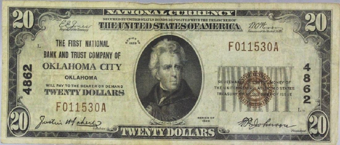 1929 $20 Oklahoma City National Currency Note 4862