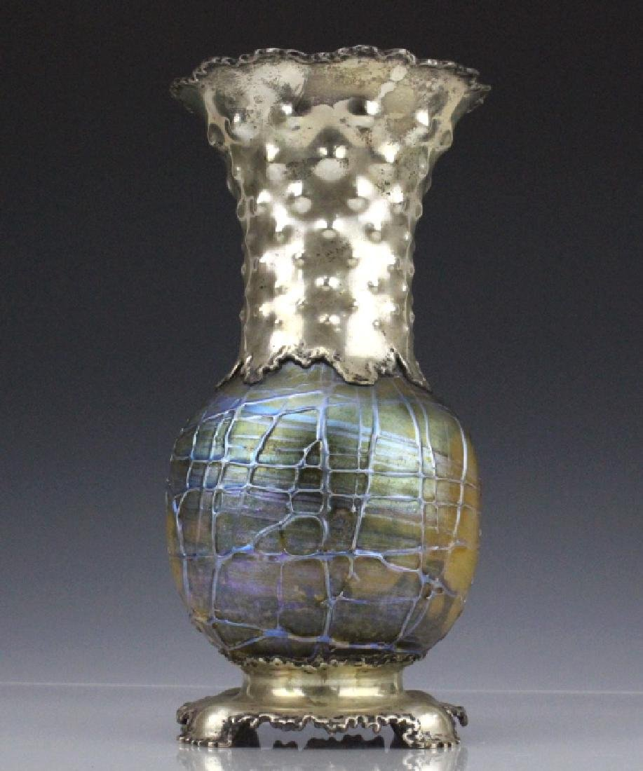 Tiffany & Co Sterling Silver Cypriot Glass Vase
