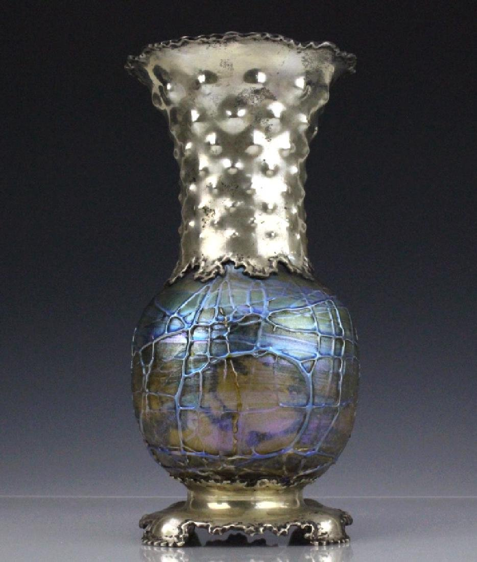 Tiffany & Co Sterling Silver Cypriot Glass Vase - 4