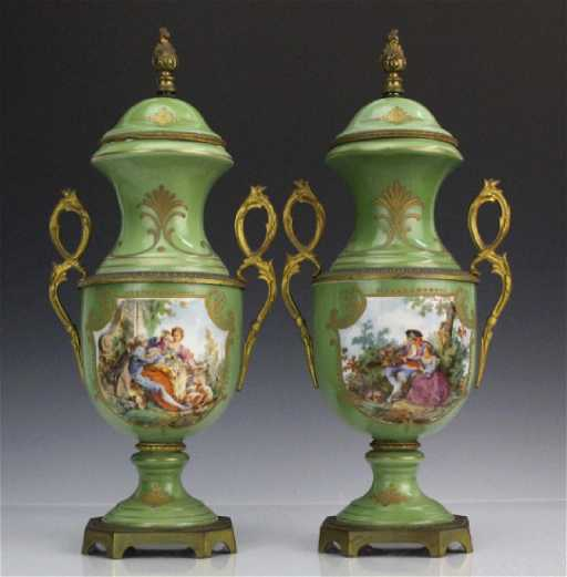 Pair Sevres Style French Porcelain Ormolu Vases