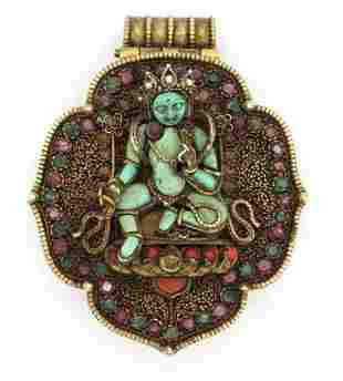 Early Jeweled Tibetian Silver Gau Prayer Box Pendant