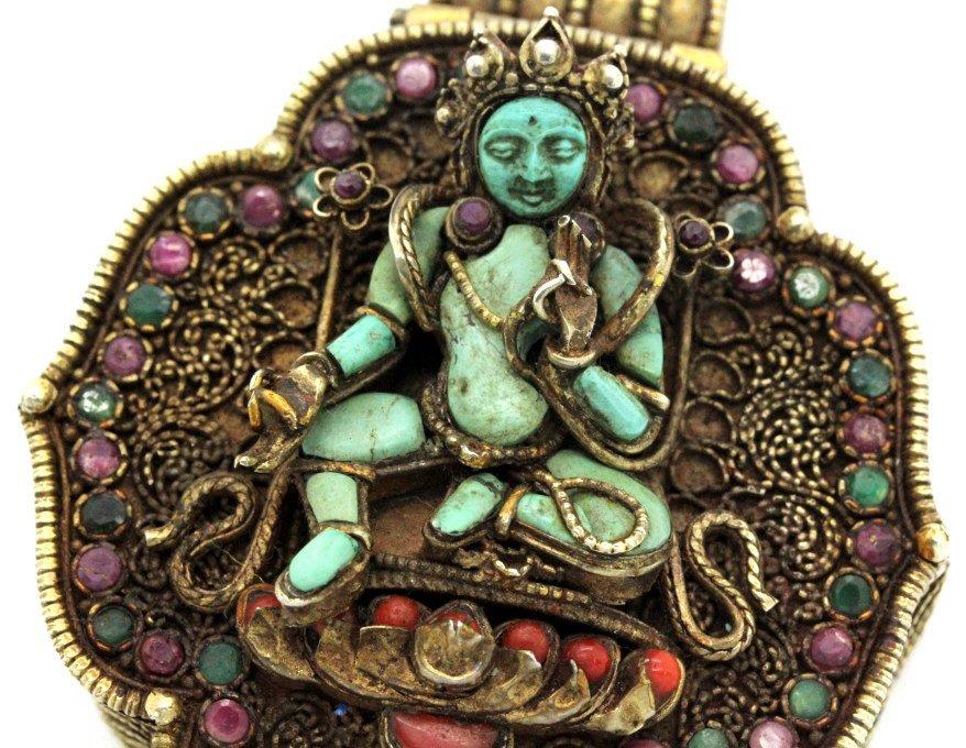 Early Jeweled Tibetian Silver Gau Prayer Box Pendant - 2