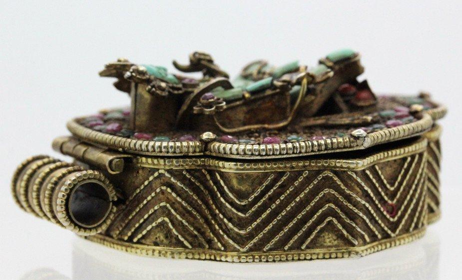 Early Jeweled Tibetian Silver Gau Prayer Box Pendant - 3
