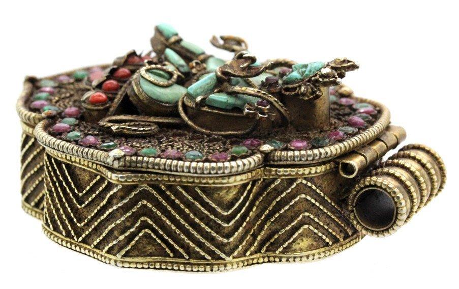 Early Jeweled Tibetian Silver Gau Prayer Box Pendant - 4