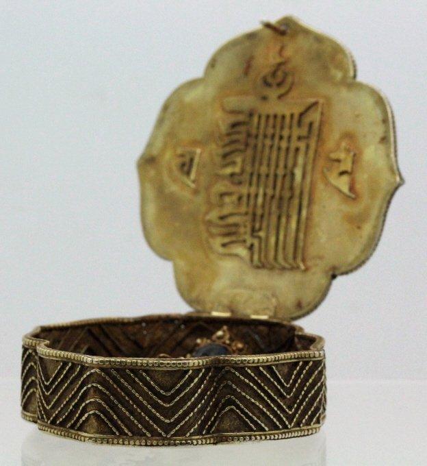 Early Jeweled Tibetian Silver Gau Prayer Box Pendant - 5