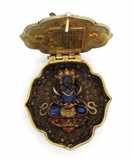 Early Jeweled Tibetian Silver Gau Prayer Box Pendant - 6