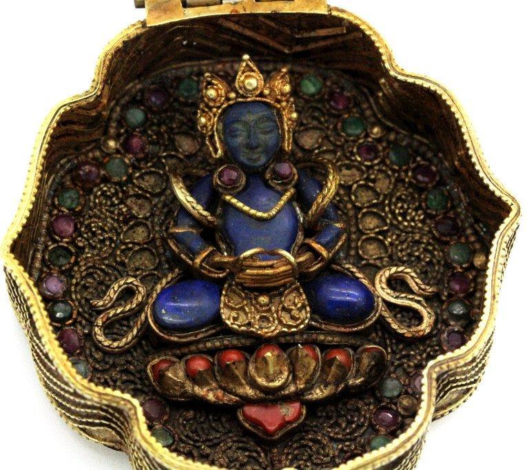 Early Jeweled Tibetian Silver Gau Prayer Box Pendant - 7