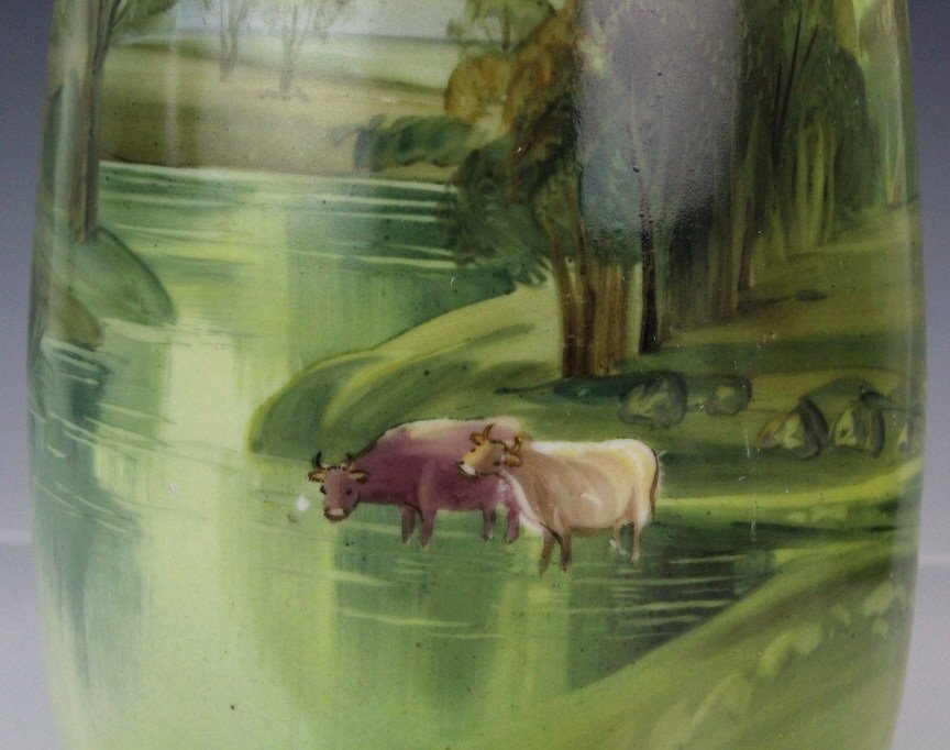 Fine Nippon Cow's In River Painted Landscape Vase - 4