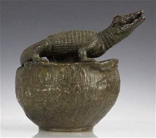 Large Austrian Bronze Goldscheider Alligator Vase