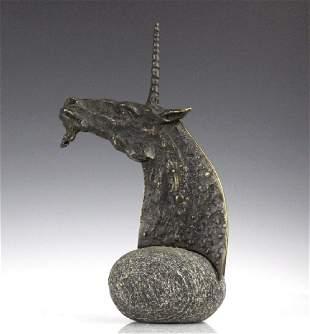 Signed Mimmo Paladino Bronze Unicorn Sculpture 2/2