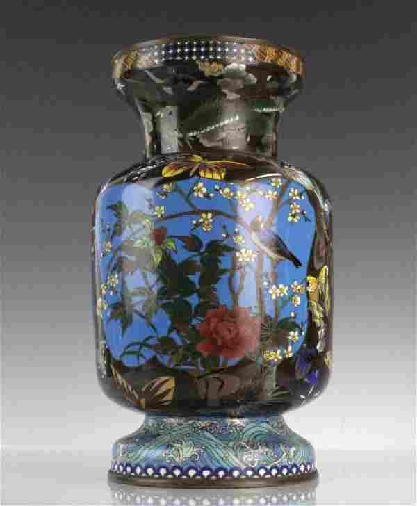 Japanese Cloisonne Enamel Butterfly Insect Vase