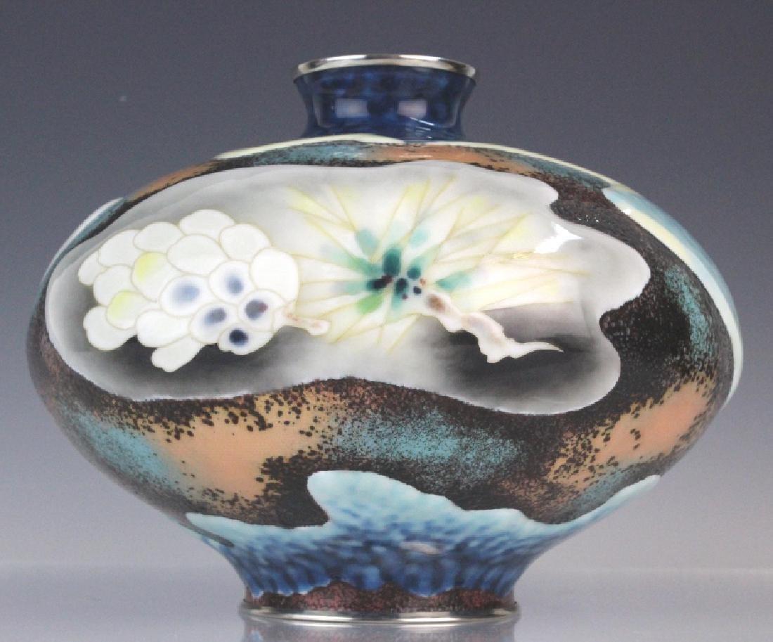 Signed Japanese Closonne Enamel Vase