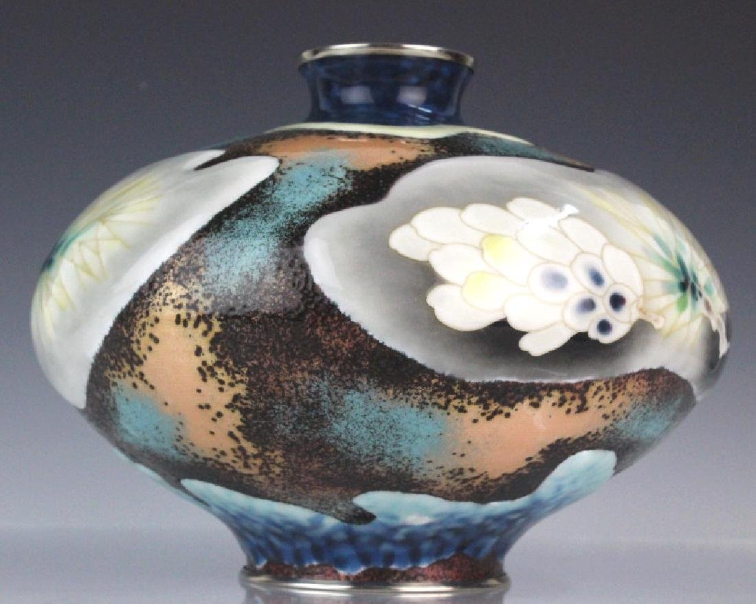 Signed Japanese Closonne Enamel Vase - 8
