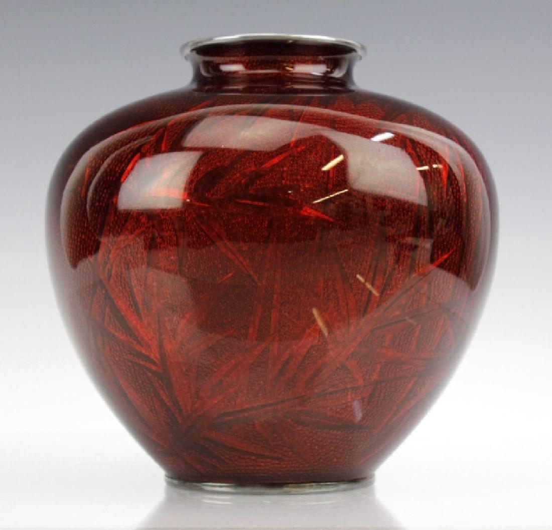 Ando Jubei Japanese Cloisonne Pigeon Blood Vase