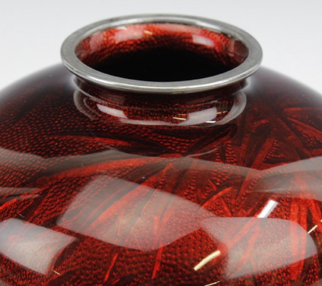 Ando Jubei Japanese Cloisonne Pigeon Blood Vase - 2