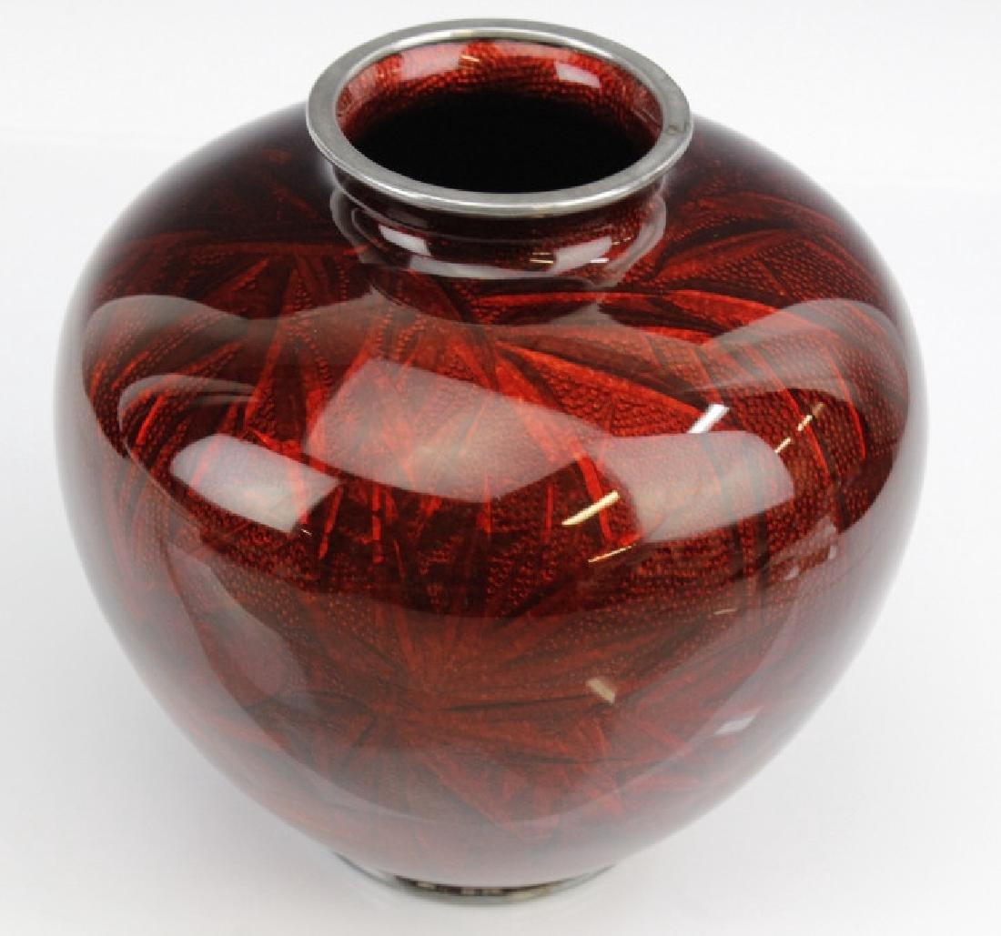 Ando Jubei Japanese Cloisonne Pigeon Blood Vase - 5