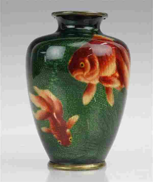 Tomeiyu Shippo Japanese Cloisonne Enamel Fish Vase