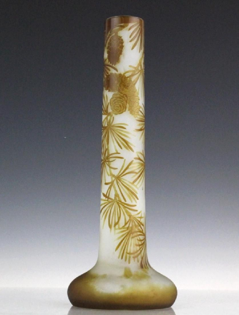 """Galle PINECONE French Cameo Art Glass 13"""" Vase"""