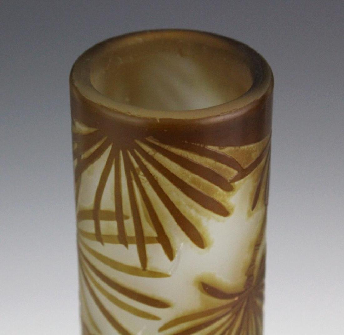 """Galle PINECONE French Cameo Art Glass 13"""" Vase - 6"""