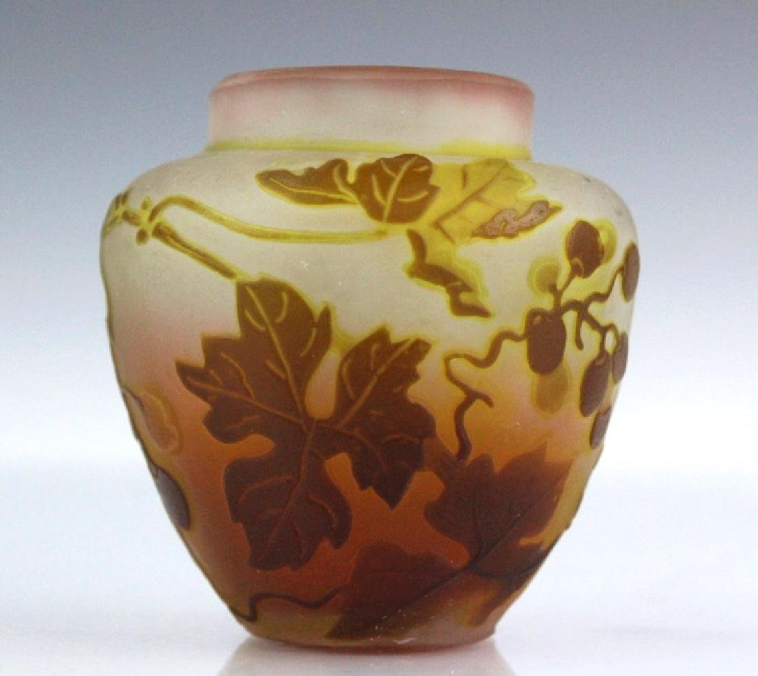 Galle French Etched Cameo Art Glass Grape Vase