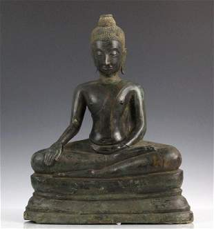 Antique Southeast Asian Bronze Seated Buddha