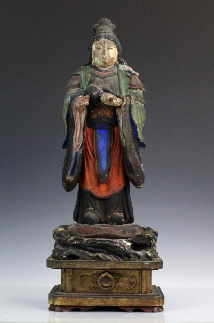 Chinese Carved Wood Polychrome Female Diety Statue