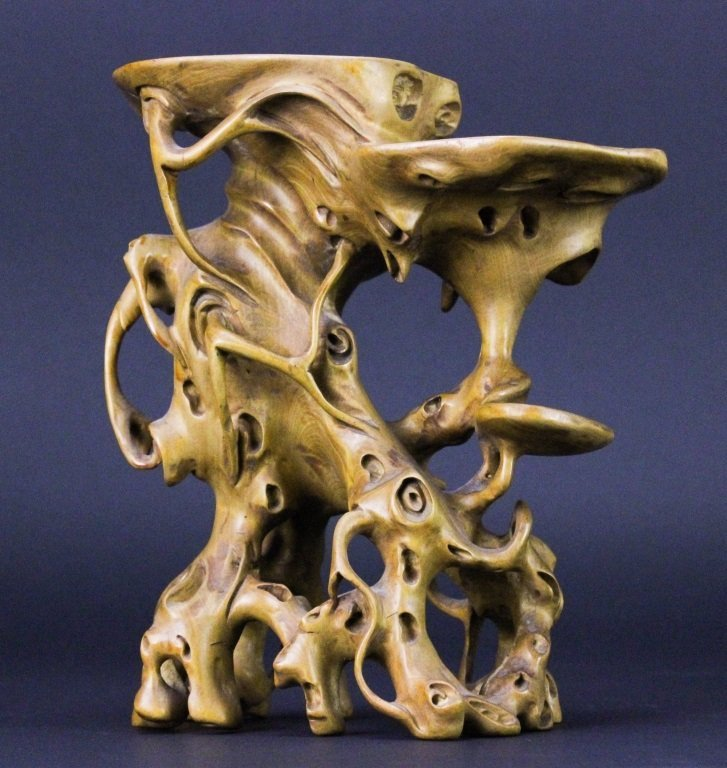 Chinese Qing Carved Bonsi Boxwood Root Form Stand