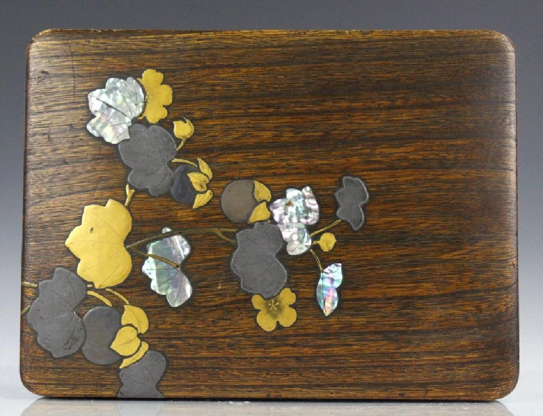 Japanese Inlaid Wooden Mother of Pearl Letter Box