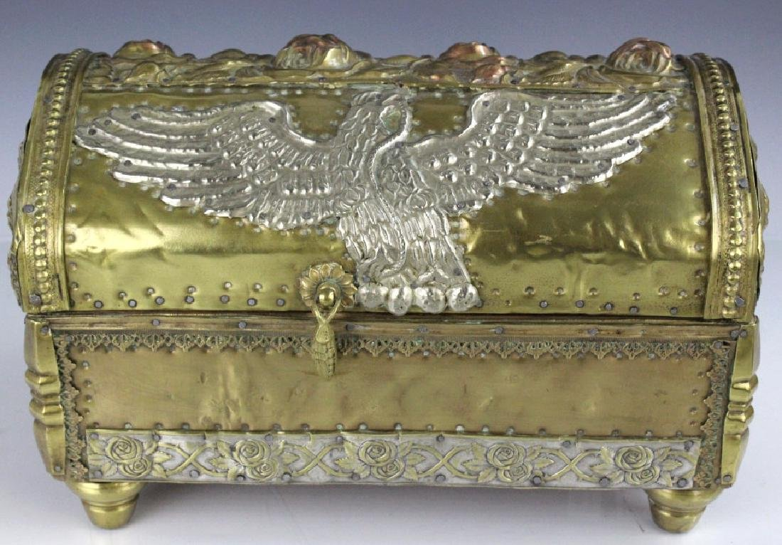 Hand Tooled Patriotic Folk Art Metal Casket Box