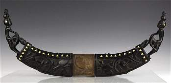 Inlaid Mother of Pearl Ebonized Carved Ox Horns