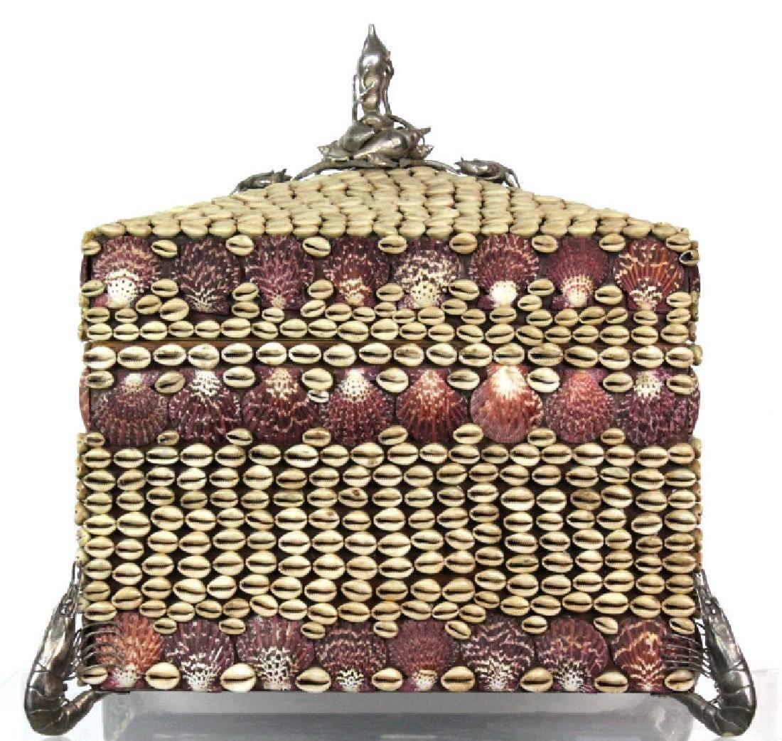 Maitland Smith Large Seashell Box with Silvered
