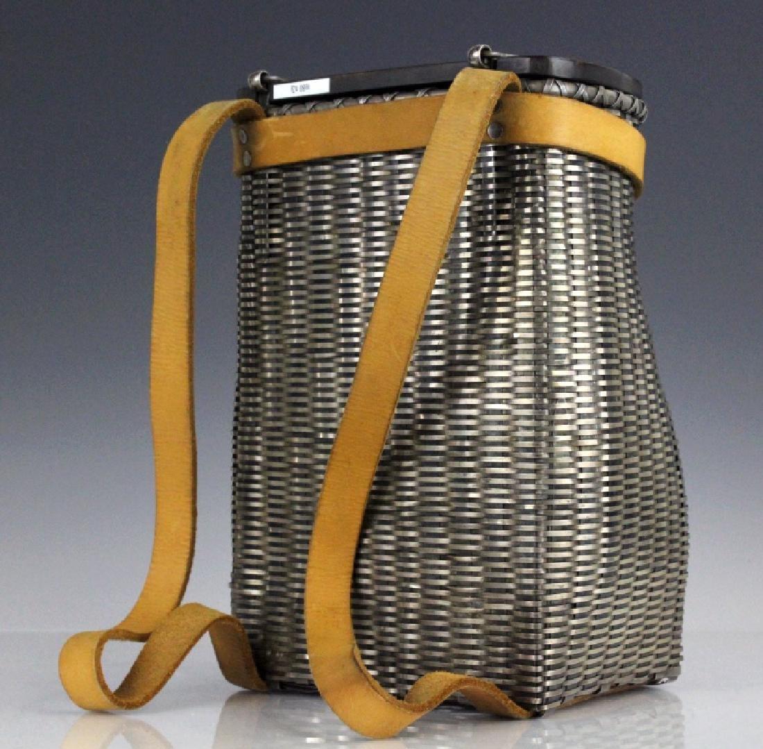 Sterling Silver Fishing Creel Basket Purse w Maple Lid - 3