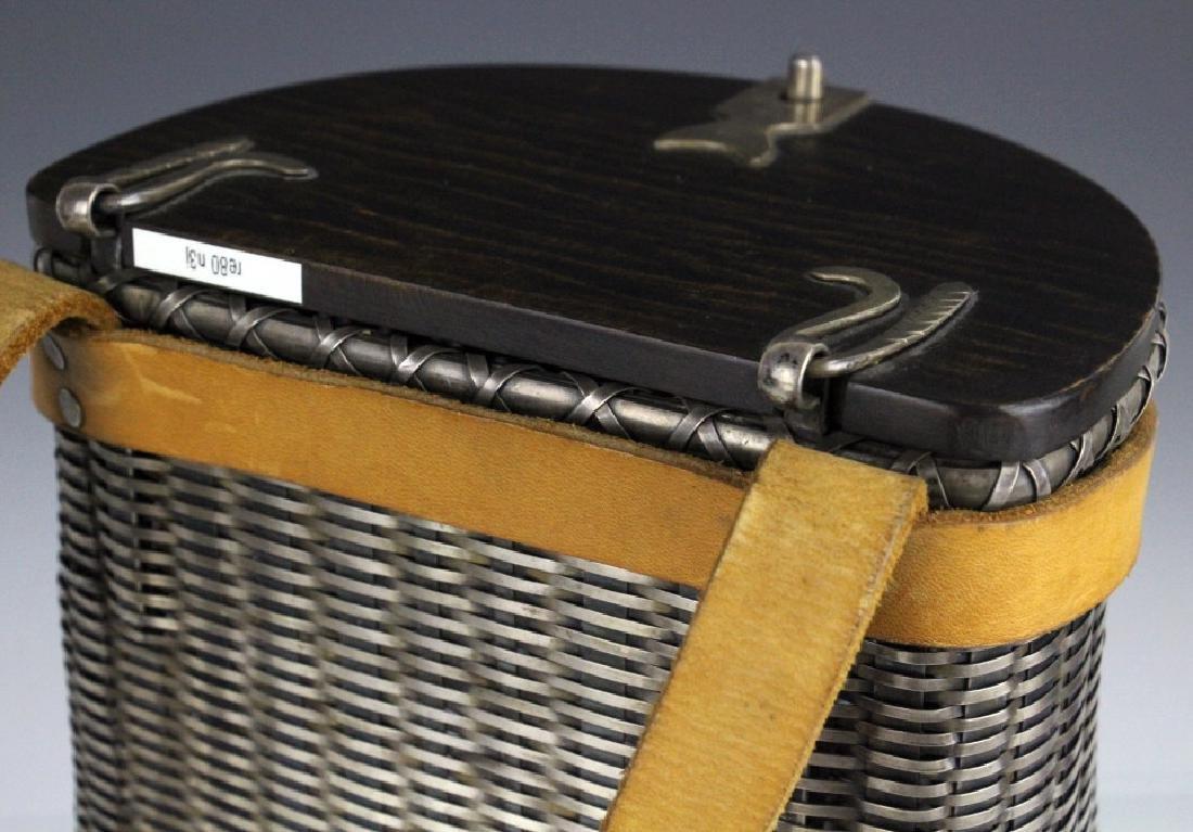 Sterling Silver Fishing Creel Basket Purse w Maple Lid - 4