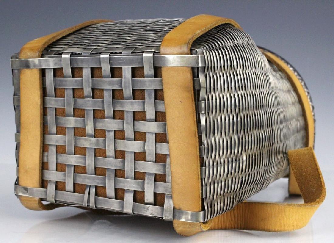 Sterling Silver Fishing Creel Basket Purse w Maple Lid - 6