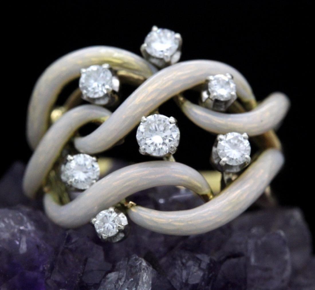 Fine Designer Style 18k Gold Enamel & Diamond Ring