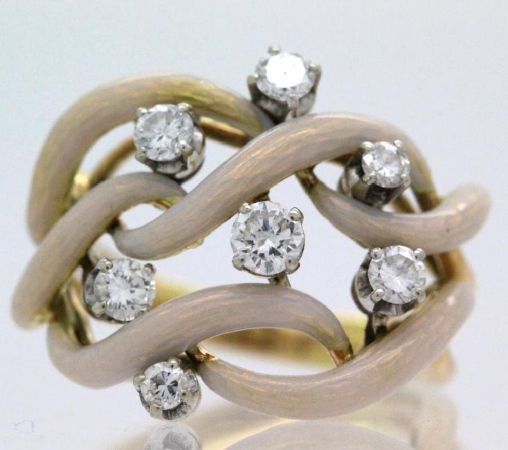 Fine Designer Style 18k Gold Enamel & Diamond Ring - 2