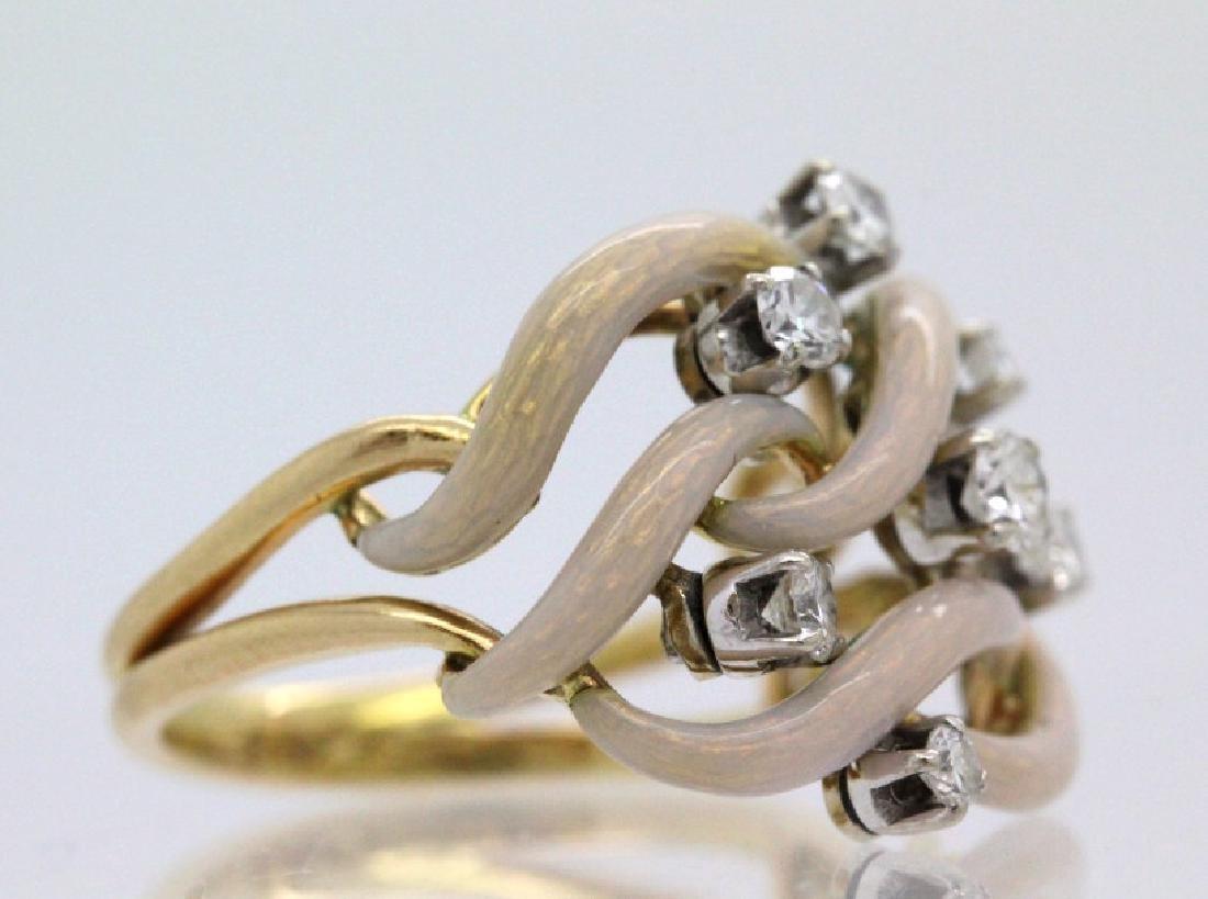 Fine Designer Style 18k Gold Enamel & Diamond Ring - 3