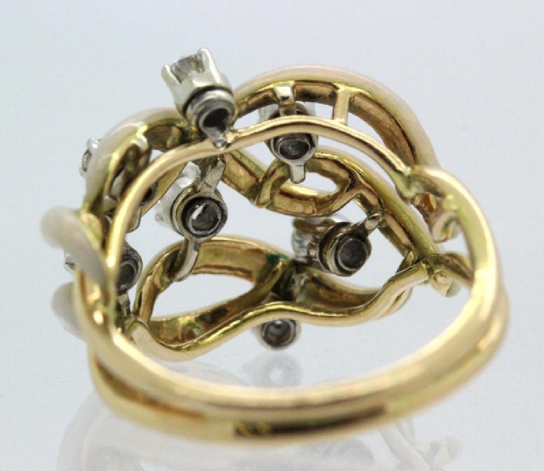 Fine Designer Style 18k Gold Enamel & Diamond Ring - 4