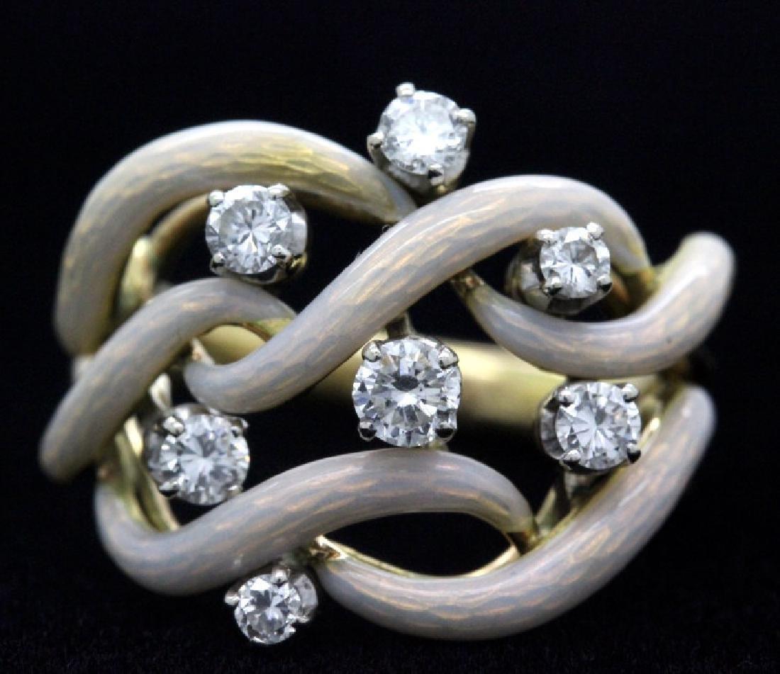 Fine Designer Style 18k Gold Enamel & Diamond Ring - 5