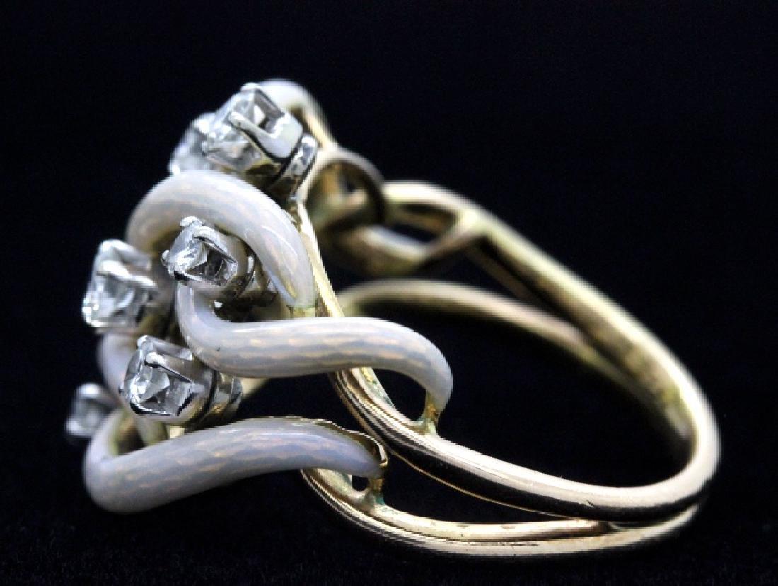 Fine Designer Style 18k Gold Enamel & Diamond Ring - 6