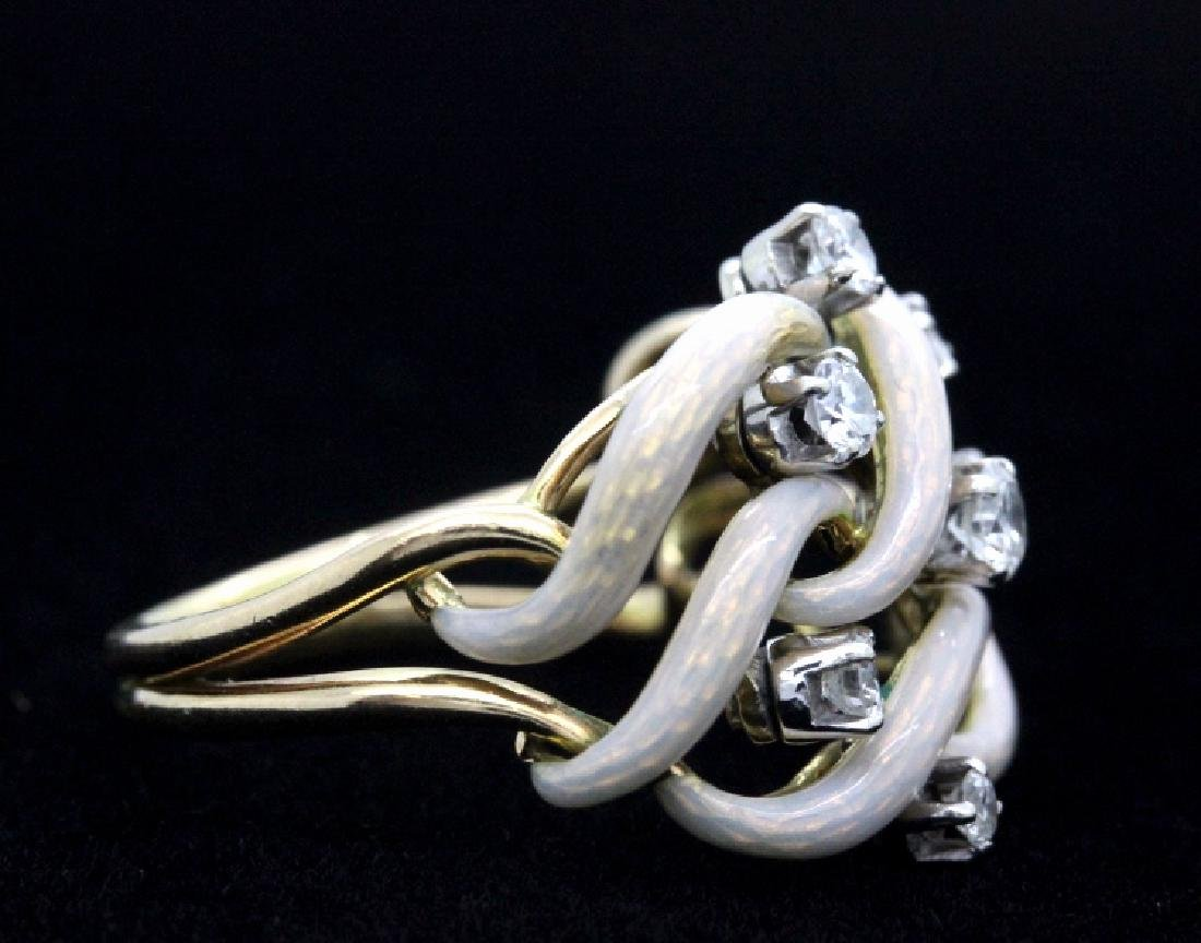 Fine Designer Style 18k Gold Enamel & Diamond Ring - 7