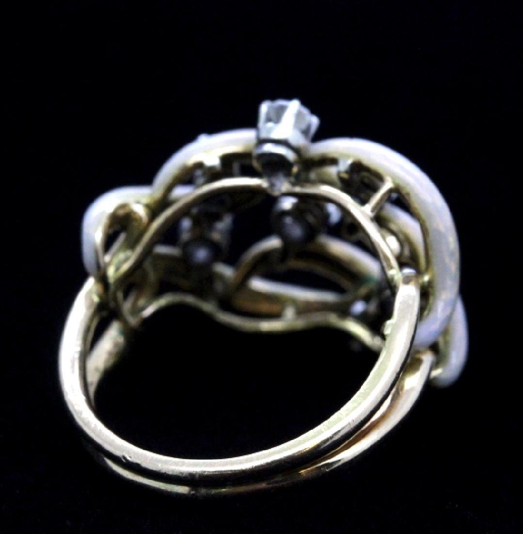 Fine Designer Style 18k Gold Enamel & Diamond Ring - 8