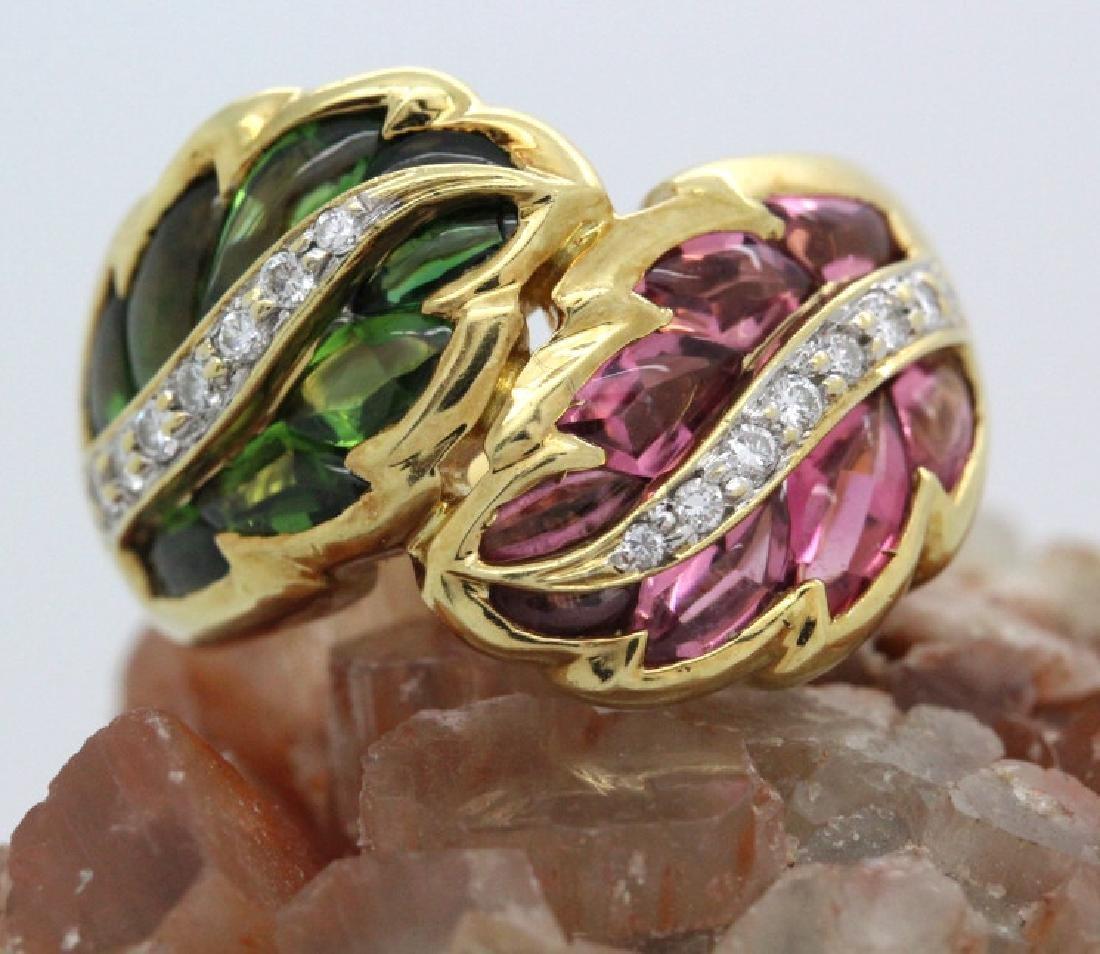 Fine 18k Gold Pink & Green Tourmaline Diamond Ring