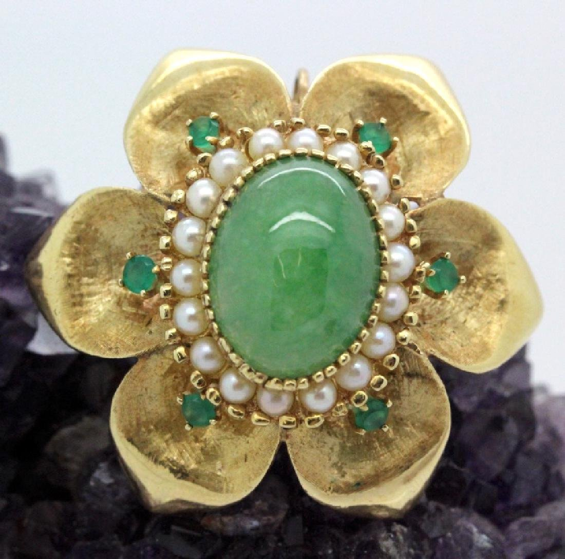 VTG 14k Gold Emerald Jade & Pearl Floral Brooch Pendant
