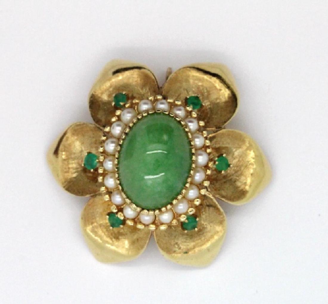 VTG 14k Gold Emerald Jade & Pearl Floral Brooch Pendant - 2