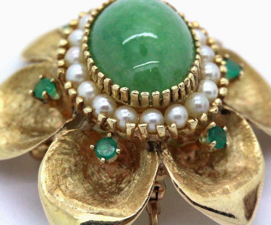 VTG 14k Gold Emerald Jade & Pearl Floral Brooch Pendant - 3