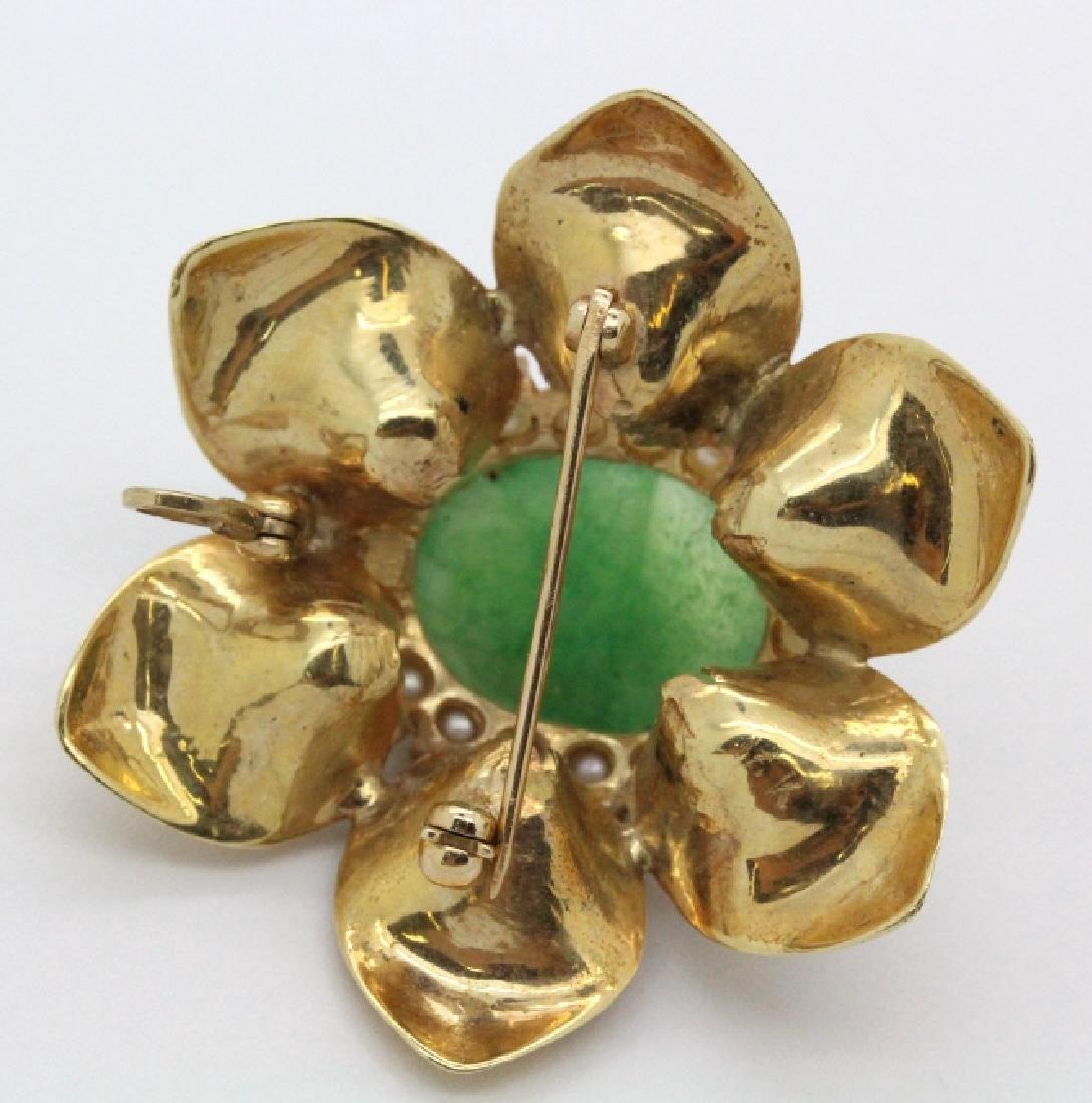 VTG 14k Gold Emerald Jade & Pearl Floral Brooch Pendant - 4